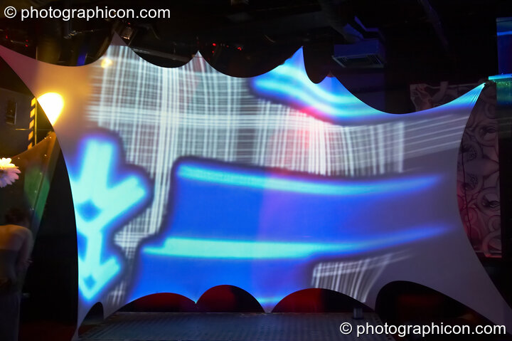 Visual projections by Pixel Addicts in the Chill room at the Liquid Records party. London, Great Britain. © 2007 Photographicon