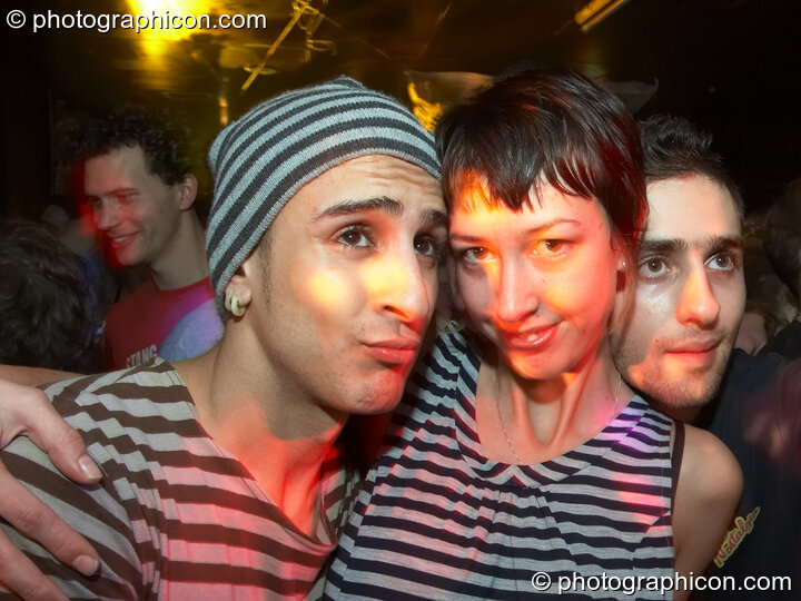 Mark and friends in the Echo System room at the Liquid Records party. London, Great Britain. © 2007 Photographicon