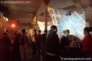 Decor and projections by Pixel Addicts in the Alternative Room at Future Music Vol. 1. London, Great Britain. © 2007 Photographicon