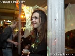 A woman dances by a pillar in the Alternative Room at Future Music Vol. 1. London, Great Britain. © 2007 Photographicon