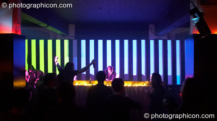 Dave Green DJ's in front of a video installation by Pixel Addicts featuring bar screen and VJ projections at Dave Green's birthday party. London, Great Britain. © 2007 Photographicon