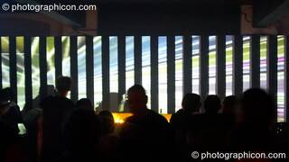 A video installation by Pixel Addicts featuring bar screen and VJ projections at Dave Green's birthday party. London, Great Britain. © 2007 Photographicon