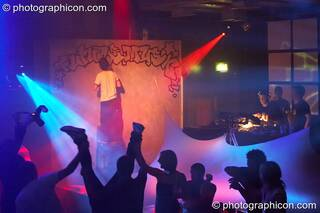 Live painting and graffiti art by in the Future Funk Room at Future Music. London, Great Britain. © 2008 Photographicon