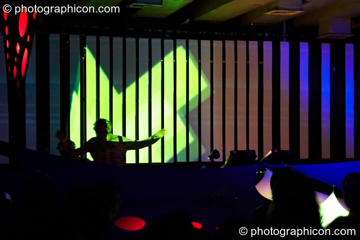 Gaudi (Interchill Records / 6 Degrees) performs in the Future Funk Room with a backdrop bar-screen visual installation by Inside Solutions at Future Music. London, Great Britain. © 2008 Photographicon