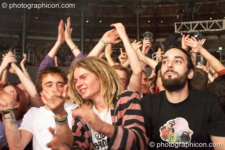 The audience cheer and clap at Shpongle Live in Concert. London, Great Britain. © 2008 Photographicon