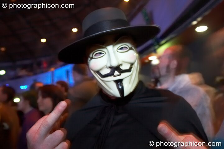 A man in a V For Vendetta costume at Shpongle Live in Concert. London, Great Britain. © 2008 Photographicon