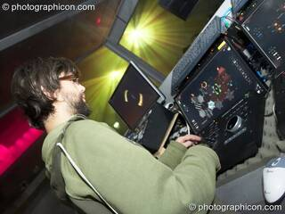 Mark Calvert operates The Pixel Addicts Server and touch-screen controller at Fabric's Matter nightclub. London, Great Britain. © 2008 Photographicon