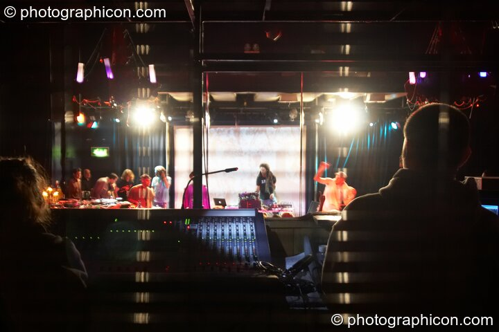View from behind the sound cage of Zion Train performing on the Skandalous! stage at Electric Circus / Circus2Gaza. London, Great Britain. © 2009 Photographicon