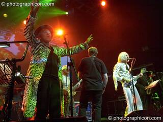 Gilli Smyth, Mike Howlett, Steve Hillage, Daevid Allen, and Theo Travis of Planet Gong perform at the Kentish Town Forum. London, Great Britain. © 2009 Photographicon