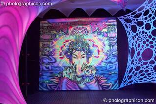 The Psytrance room decordated by Global Village at the Haiti Appeal Party 09/04/2010. London, Great Britain. © 2010 Photographicon