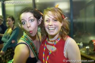 Two women dressed as pixies at the Haiti Appeal Party 09/04/2010. London, Great Britain. © 2010 Photographicon