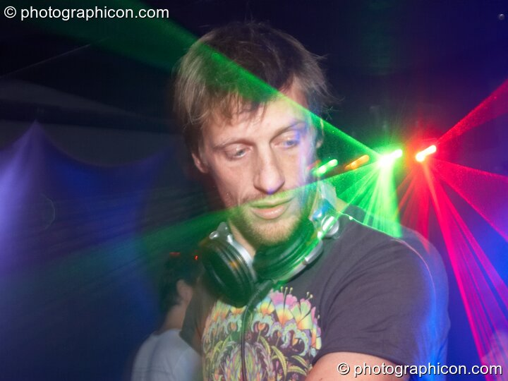 Tristan Cooke (Nano Records) performs in the Psytrance room at the Haiti Appeal Party 09/04/2010. London, Great Britain. © 2010 Photographicon
