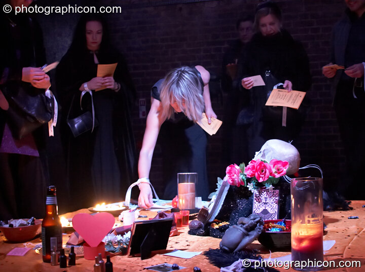 Participants lay their Goose gifts upon the ritual shrine at The Halloween of the Cross Bones XIII. London, Great Britain. © 2010 Photographicon
