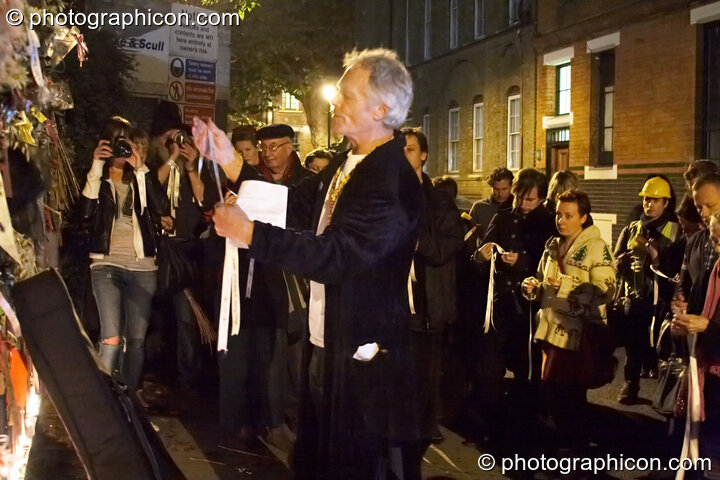 John Constable leads the reading of the names of the outcast dead outside the gates of the old Cross Bones graveyard at The Halloween of the Cross Bones XIII. London, Great Britain. © 2010 Photographicon