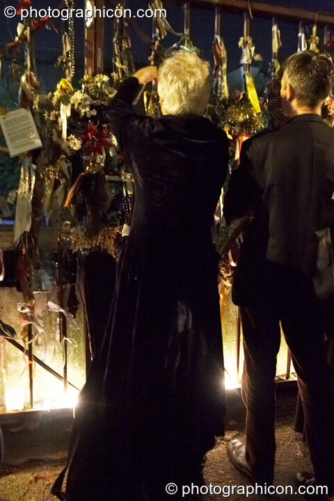 Participants honour The Goose and her outcast dead outside the gates of the old Cross Bones graveyard at The Halloween of the Cross Bones XIII. London, Great Britain. © 2010 Photographicon