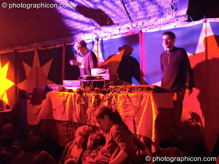 Tom DJing on the Small World Stage at the Synergy Project. London, Great Britain. © 2005 Photographicon