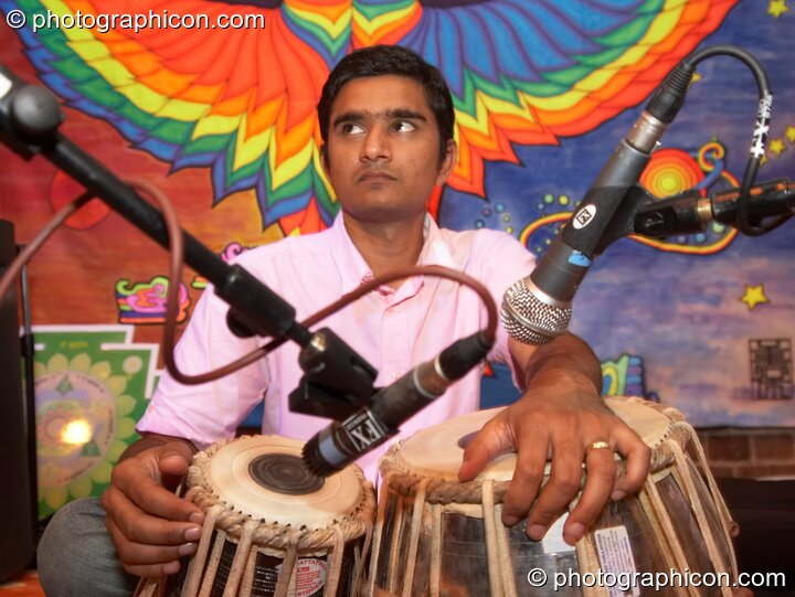 Ashok performing on the Sangita Sounds stage  at The Synergy Project. London, Great Britain. © 2006 Photographicon