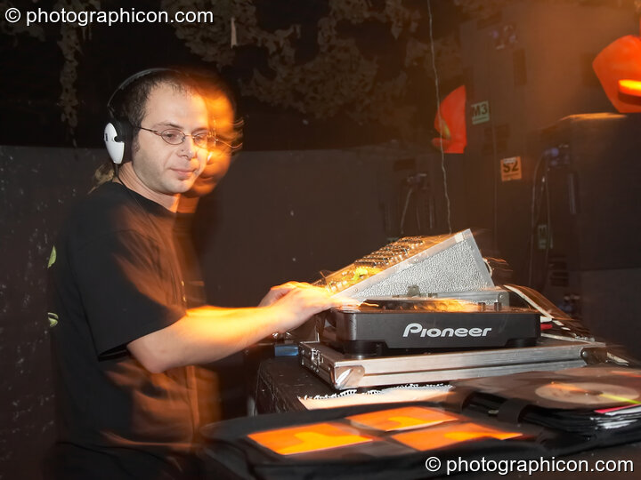 DJing on the Psycle stage at The Synergy Project. London, Great Britain. © 2006 Photographicon