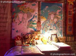 Muriel's stall sells beautiful Tibetan artwork in the EdensoundS space at The Synergy Project. London, Great Britain. © 2006 Photographicon