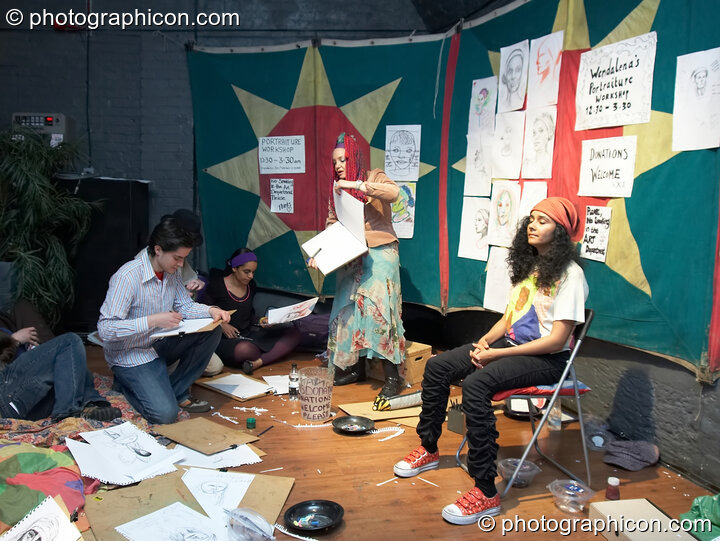 Participants in Wendalena's portrait drawing class at The Synergy Project. London, Great Britain. © 2007 Photographicon