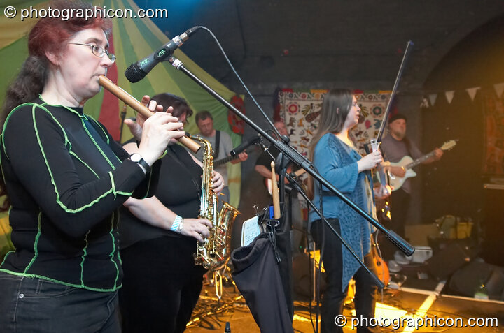 The Committee Band perform on the Ceilidh Project stage at The Synergy Project. London, Great Britain. © 2007 Photographicon
