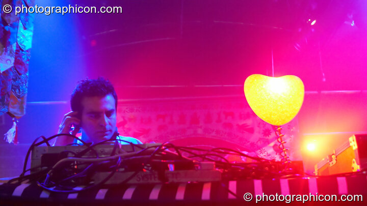 Steve Kundalini DJs on the Kundalini stage at The Synergy Project. London, Great Britain. © 2008 Photographicon