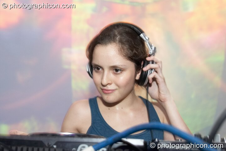 Pollyfonika (Frakasound, MX) DJs in the Liquid Records room at Luminopolis (formerly The Synergy Project). London, Great Britain. © 2008 Photographicon