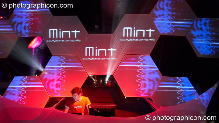 Mint performs on the Glitch-Out stage at The Synergy Project with decor by IDspiral and visual projections by Pixel Addicts. London, Great Britain. © 2007 Photographicon