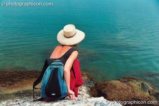 Ingrid looks out to sea at Agios Pavlos. Rethymno, Greece. © 2002 Photographicon