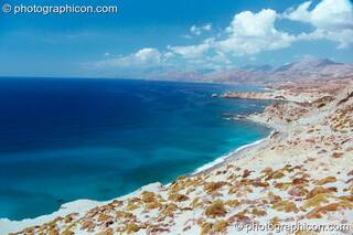 View of the sea from above the beach at Agios Pavlos. Greece. © 2002 Photographicon