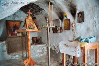 Interior of a chapel built into the hill side at Agios Pavlos. Greece. © 2002 Photographicon