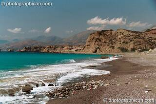 View of the sea from the beach at Agios Pavlos. Greece. © 2002 Photographicon