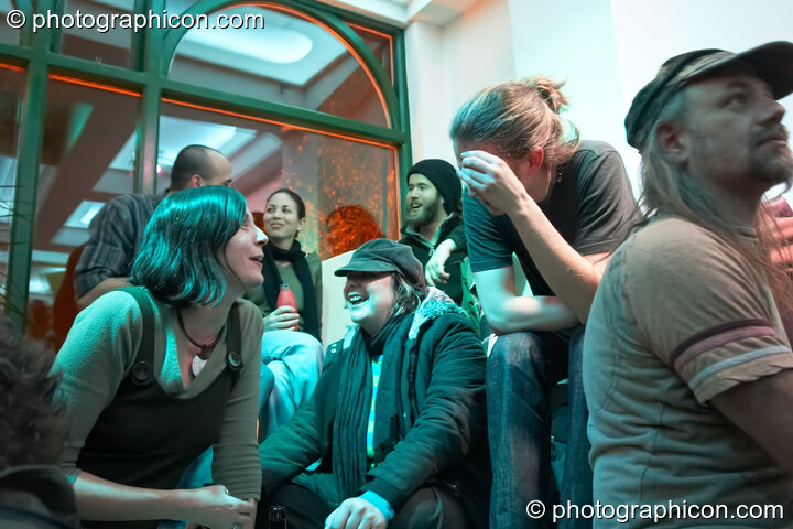 Revellers enjoying the atmosphere at the launch party for the inSpiral Lounge organic cafe and multimedia venue. London, Great Britain. © 2007 Photographicon