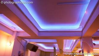 The ceiling beams and LED lighting in the inSpiral Lounge organic cafe and multimedia venue. London, Great Britain. © 2008 Photographicon