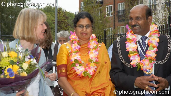 Karen Parry, The Lady Mayoress, and Councillor Yogan Yoganathan (The Worshipful Mayor of the Royal Borough of Kingston upon Thames) at the opening of Save The World Club's Hundertwasser mosaic. Great Britain. © 2005 Photographicon