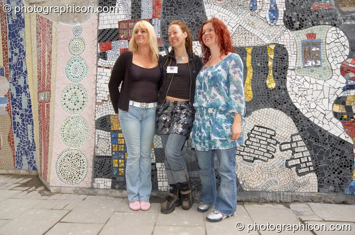 Voulnteers at the opening of Save The World Club's Hundertwasser mosaic. Kingston Upon Thames, Great Britain. © 2005 Photographicon