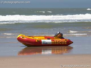 A brightly coloured rescue boat on the beach at Port St.Johns - Eastern Cape, South Africa. © 2005 Photographicon