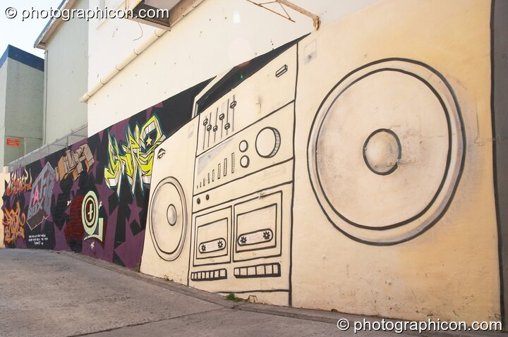 Mural of a boom box on a wall in Observatory, Cape Town - Western Cape, South Africa. © 2005 Photographicon