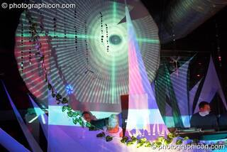Nadine DJing in the IDSpiral space with projections by  Inside-Us-All at The Synergy Project. London, Great Britain. © 2006 Photographicon