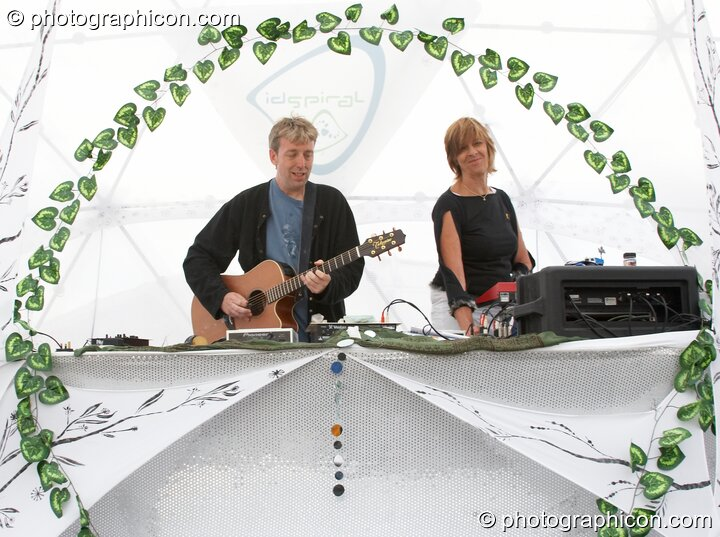 Steve Hillage and Miquette Giraudy of Mirror Systems (A-Wave) on the idSpiral Stage at Sunrise Celebration 2006. Yeovil, Great Britain. © 2006 Photographicon